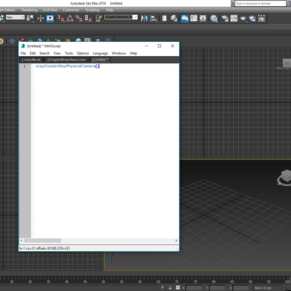Crear un Script para VRay Physical Cam 3ds Max 2016